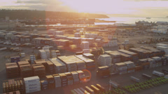 Aerial view Harbor Island Container docks, Port of Seattle Stock Footage