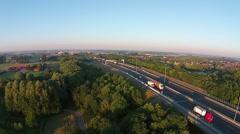 Aerial of road brigde crossing river Rhine - stock footage