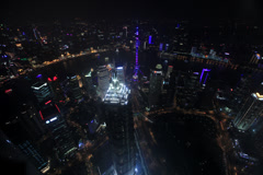 Shanghai night view from World Financial Center 101 floors 1 4K 30 Stock Footage