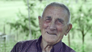 Stock Video Footage of smiling happy wrinkled old man: elderly, countryside, outdoor, portrait, 4k