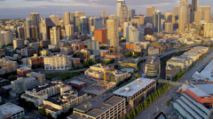 Aerial Skyline sunset view Downtown Seattle, USA Stock Footage