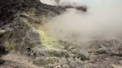 Sulphurous vents on the side of an active volcano Stock Footage