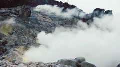 Sulphurous vents on the side of an active volcano - stock footage