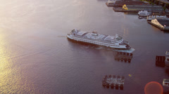 Aerial sunset view Inter Island Car ferry terminal, Seattle, USA Stock Footage