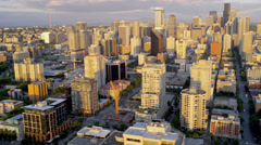 Aerial sunset view Seattle offices financial districts, USA Stock Footage