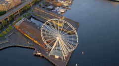 Aerial view sunset Waterfront Park, Seattle, USA Stock Footage
