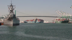 Battleship Iowa at The Port of Los Angeles Stock Footage