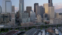 Aerial coastal view downtown Seattle Alaskan Way Viaduct, USA Stock Footage