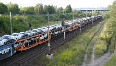 Freight Train with New Cars Stock Footage