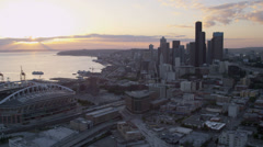 Aerial sunset view downtown Seattle CenturyLink Field Stadium, USA Stock Footage
