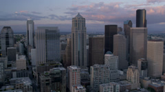 Aerial view sunset  Columbia Centre Smith Tower, Seattle, USA, Stock Footage