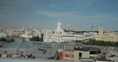 4K Aerial view of the Cibeles Palace and Madrid skyline, Spain Stock Footage