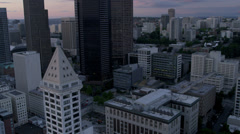 Aerial dusk close up view modern Columbia Centre, Seattle, USA Stock Footage