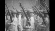 Military men in a parade Stock Footage
