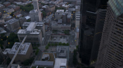 Aerial dusk skyscraper view Metropolitan city Seattle, USA Stock Footage
