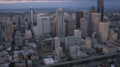 Aerial Downtown sunset view Columbia Centre Seattle, USA Stock Footage