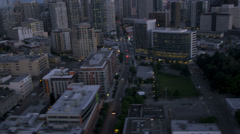 Aerial Skyscraper view  Downtown Seattle Cosmopolitan City, USA - stock footage