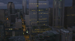 Aerial view Seattle Business and Finance Center skyscrapers dusk, USA Stock Footage