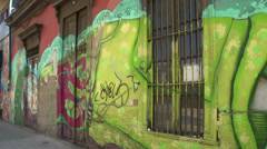 Pan from street art in the streets of Santiago de Chile - stock footage