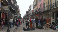 Street band playing music on Royal Street, New Orleans. - stock footage