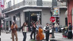 Street band playing music on Royal Street, New Orleans. Stock Footage