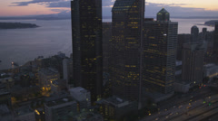 Aerial sunset view of illuminated Columbia Centre, Highway 5, USA Stock Footage