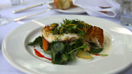 Stock Video Footage of Fish dish outdoor dining zoom out
