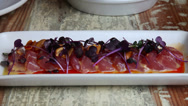 Stock Video Footage of Raw tuna dish zoom out
