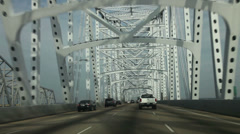 Driving on Mississippi river bridge, New Orleans. Stock Footage