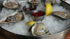 Stock Video Footage of Fresh Oyster plate zoom out