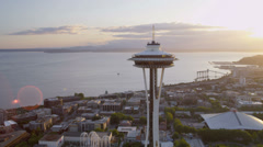 Aerial sunset view Space Needle downtown, Seattle, USA - stock footage
