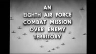 Board displaying text as an eighth air force combat mission over enemy territory Stock Footage