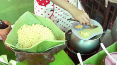 "Pork Steamed Rice Parcels, Thai call ""Kow Griep Pag Mor"" Stock Footage"