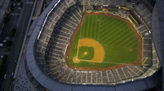 Aerial dusk view Safeco Field Baseball Stadium, Seattle, USA Stock Footage