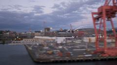 Aerial view CenturyLink Field and Safeco Field Baseball Stadium, Seattle, USA Stock Footage
