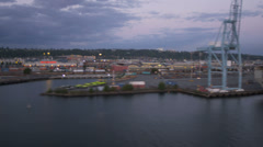 Stock Video Footage of Aerial view bulk carrier Harbor Island Port of Seattle, USA
