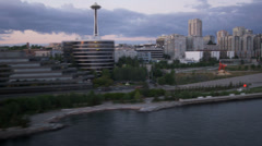 Aerial sunset view Seattle coastal harbour, USA Stock Footage
