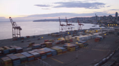 Aerial view Container Port CenturyLink Field Baseball Stadium, Seattle, USA Stock Footage