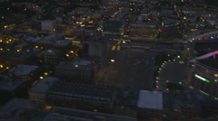 Aerial illuminated view CenturyLink Field, Safeco Field Baseball Stadium, Stock Footage