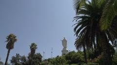 Statue of the Virgin Mary on the top of Cerro San Cristóbal, Santiago de Chile Stock Footage