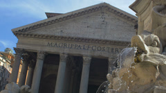 Ancient Roman monumental building. Pantheon with fountain. 4k footage Stock Footage
