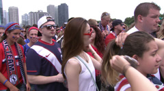 American Soccer Fans in Grant Park, Chicago Stock Footage