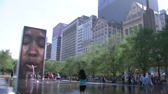 Millenium Park's Crown Fountain, view 2 - stock footage