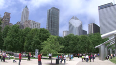 Millennium Park with fog Stock Footage