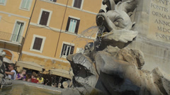 Rome Rotunda square fountain detail. Slowmotion Stock Footage