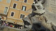 Stock Video Footage of Rome Rotunda square fountain detail. Slowmotion