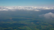 Stock Video Footage of Aerial landscape with clouds and sky, view from flying plane.