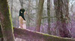 Elf forest woman LOTR style Stock Footage
