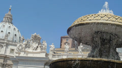 Saint Peters Square views with fountain in foreground. Slowmotion Stock Footage