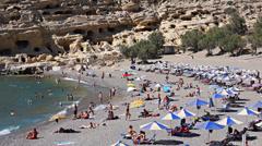 Matala beach in Crete island Stock Footage